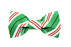 Green, Red, White Stripe Dog Bow Tie - 950