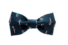 Navy Candy Cane Dog Bow Tie - 902