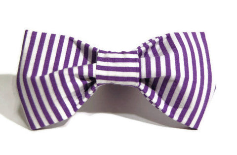 Purple/White Pinstripe Dog Bow Tie - 909