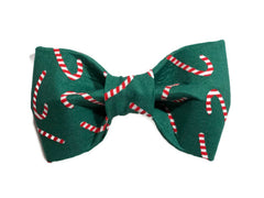 Green Candy Canes Dog Bow Tie - 911