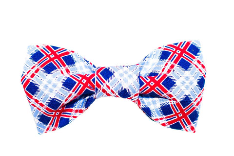 Red/White/Blue Plaid Dog Bow Tie - 914