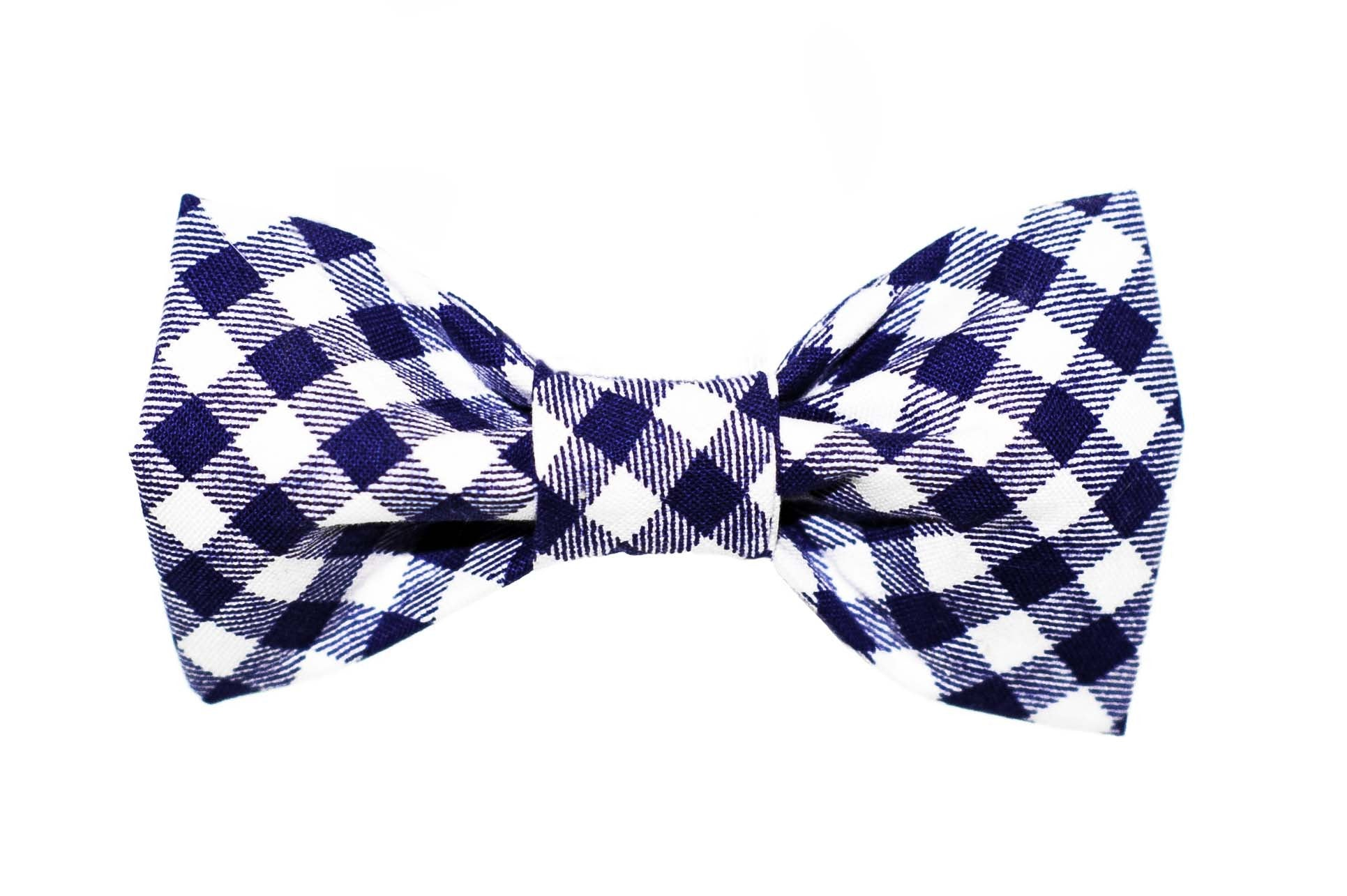 Blue/White Gingham Dog Bow Tie - 915