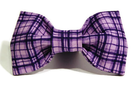 Purple Plaid Dog Bow Tie - 918