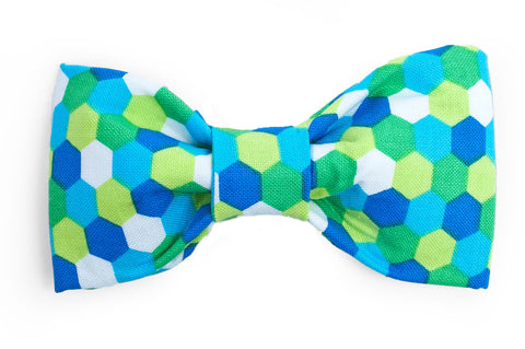 Green/Blue/Lime Honeycomb Dog Bow Tie