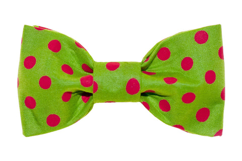 Green/Red Dot Dog Bow Tie - 987