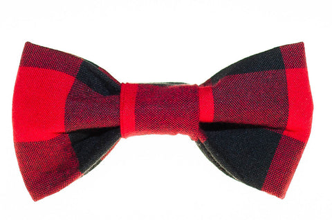 Red/Black Buffalo Plaid Dog Bow Tie