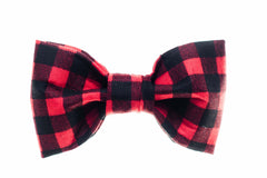 Small Red/Black Buffalo Plaid Dog Bow Tie - 901