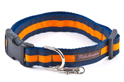 Blue and orange preppy dog collar