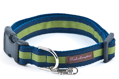 Navy/Green Stripe Dog Collar  - 306