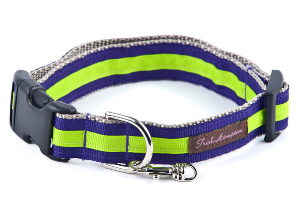 Purple/Neon Green Stripe Sale Dog Collar - 315