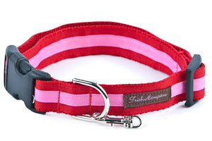 Red/Hot Pink Stripe   Dog Collar - 325