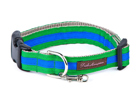 Kelly Green/Bright Blue Stripe