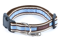 Chocolate/Periwinkle Stripe Dog Collar