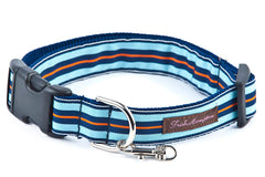 Navy/Light Blue/Orange Stripe  Dog Collar  - 605