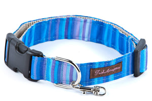 Blue Candy Stripe  Dog Collar - 609