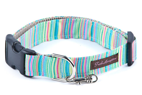 Green Candy Stripe Dog Collar