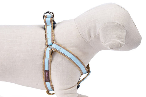 Tan/Light Blue Stripe Dog Harness - 307