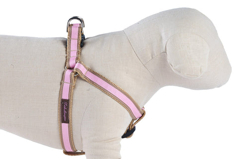 Tan/Light Pink Stripe Dog Harness - 308