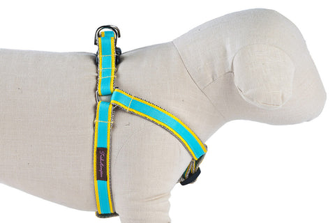 Yellow/Turquoise Stripe Dog Harness - 318