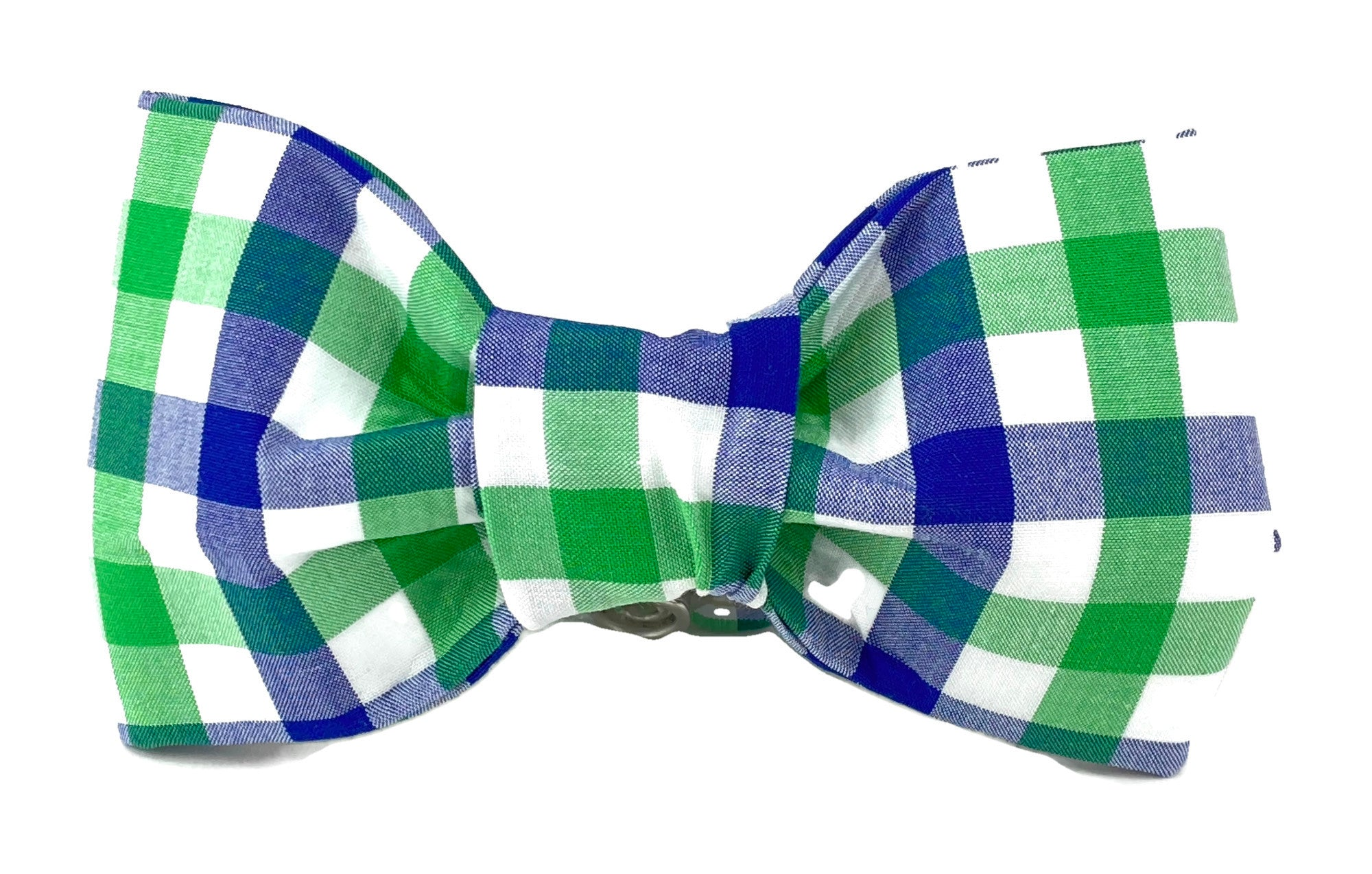 Blue/White/Green Plaid Dog Bow Tie - 759
