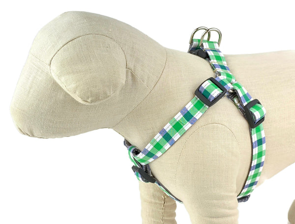 Blue/White/Green Plaid Dog Harness - 759