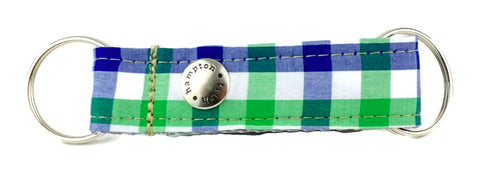 Blue/White/Green Plaid Snappy Keychain - 759