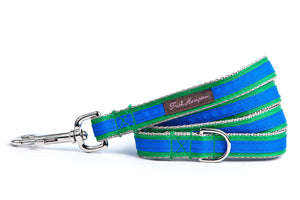 Kelly Green/Bright Blue Stripe 6ft Dog Leash - 326