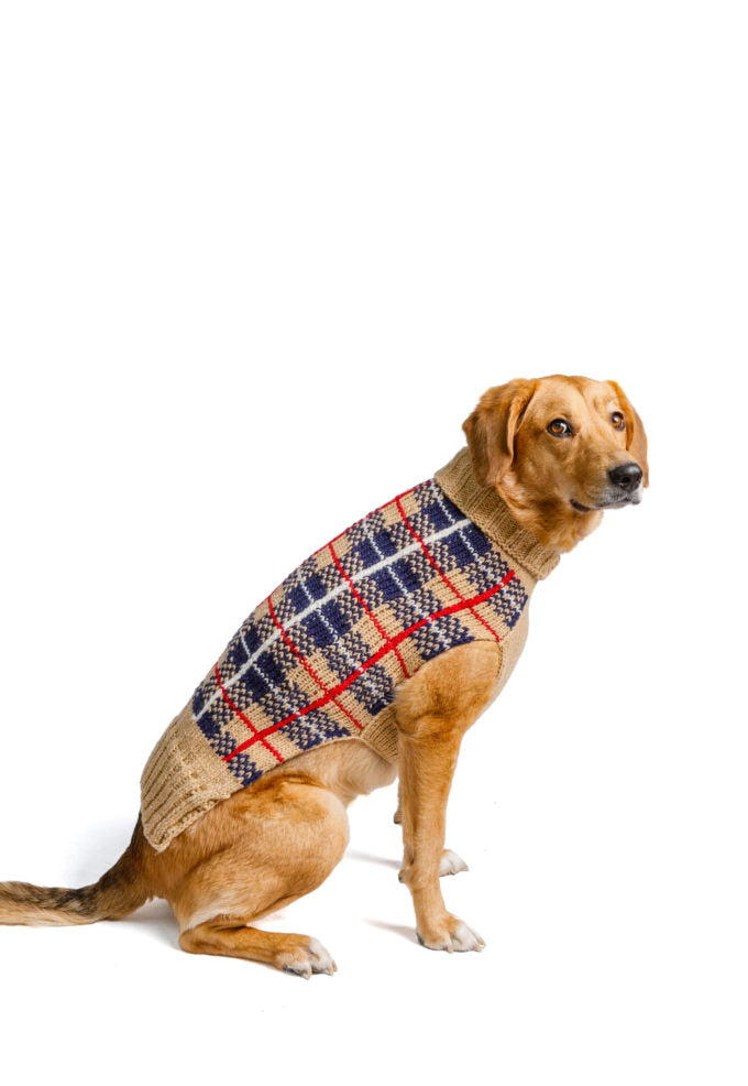 Tan Tartan Plaid Dog Sweater by Chilly Dog