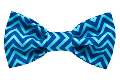 Blue Chevron Dog Bow Tie - 947