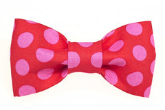 Red/Hot Pink Dots Dog Bow Tie - 943