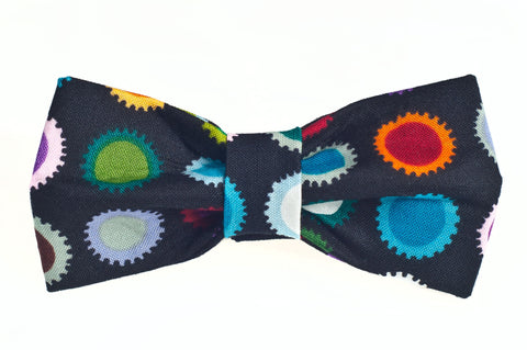 Black Multi Color Sun Dots Dog Bow Tie