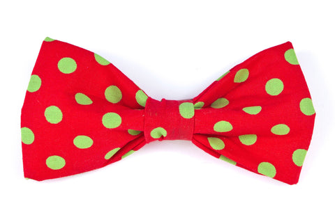Red/Green Dots Dog Bow Tie