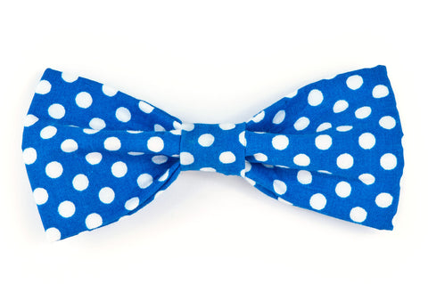 Royal/White Dot Dog Bow Tie - 921
