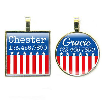 Red, White, and Blue Dog License Tag