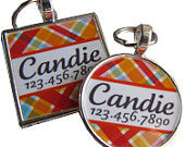 Candy Plaid Dog License Tag