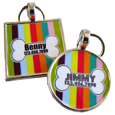 Carnival Stripe Dog License Tag