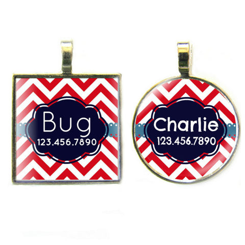 Chevron Red Stripes Dog License Tag