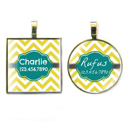 Chevron Yellow Stripes Dog License Tag