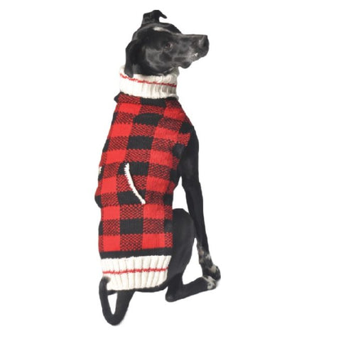 Buffalo Plaid Hand knit wool dog sweater by Chilly Dog