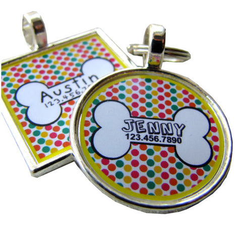 Dog Bone Dots Dog License Tag