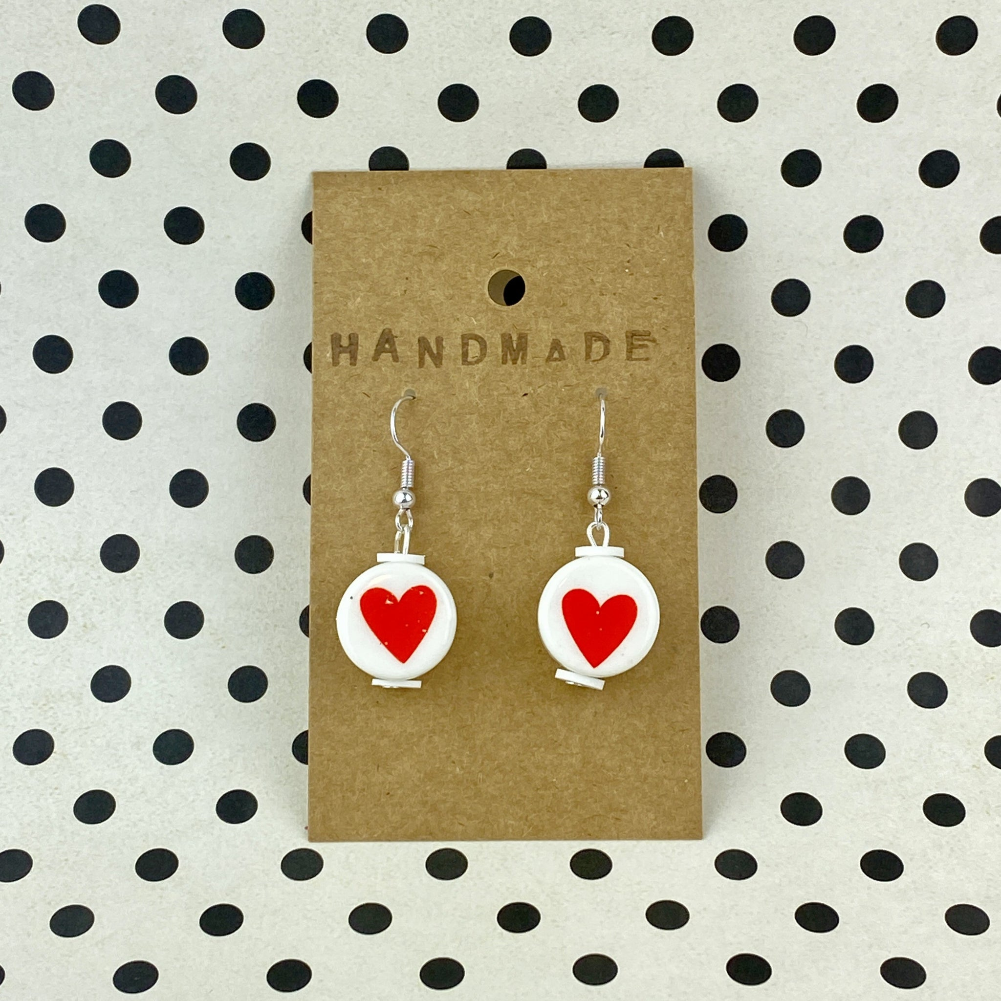 Valentine Heart Bead Earrings - Sam's Crafts
