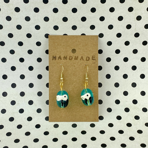 White Dog Profile Aqua Bead Earrings - Sam's Crafts