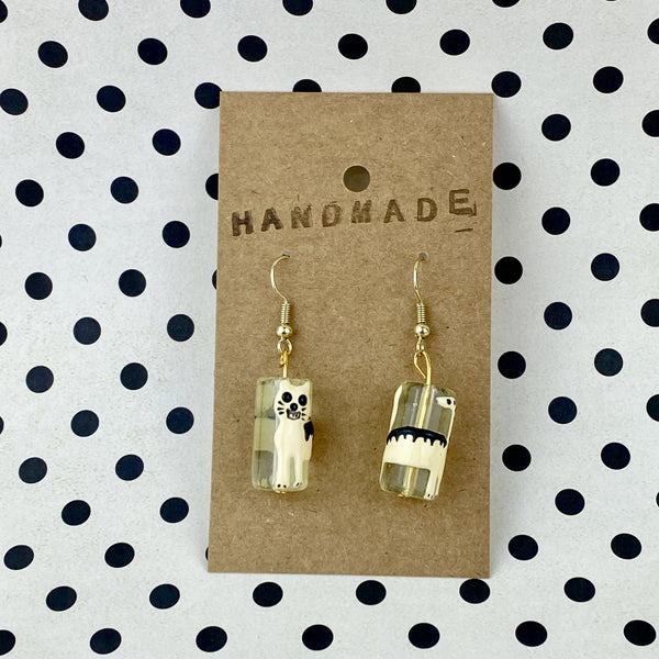 Cream / White Cat Bead Earrings - Sam's Crafts