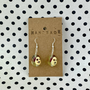 Cream Dog Face Bead Earrings - Sam's Crafts