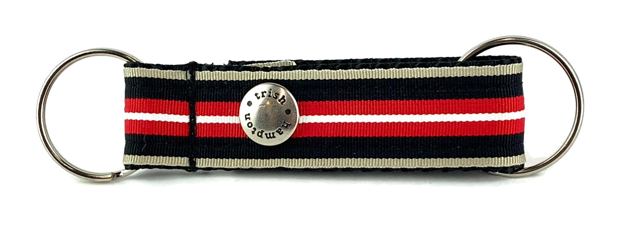 Red/Black/Tan Stripe Snappy Keychain - 606