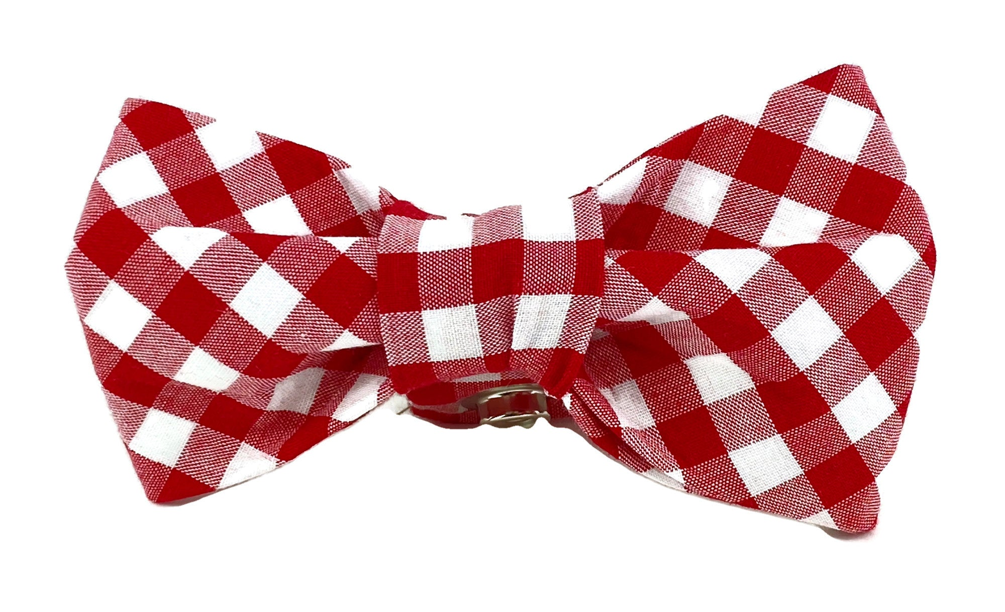 Red/White Gingham Dog Bow Tie - 1005