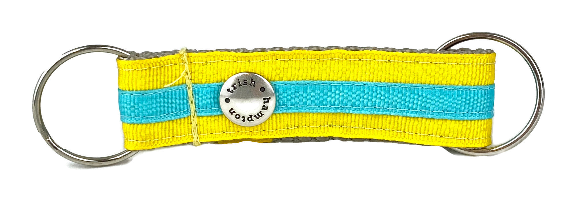 Yellow/Turquoise Stripe Snappy Keychain - 318