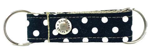 Black/White Polka Dot Snappy Keychain - 501