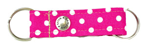 Hot Pink/White Polka Dot Snappy Keychain - 504