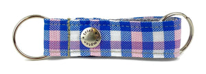 Pink/Blue/White Plaid Snappy Keychain - 770